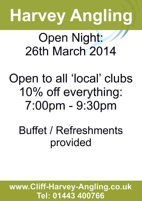 Harvey Angling Open Evening 26th March 2014